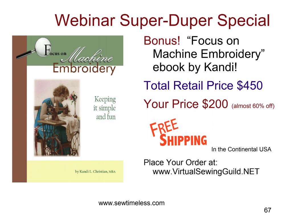 Sew Timeless Webinar Super Duper Special